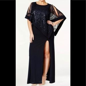 Formal Dress Plus Size 14W Navy Overlay Cape R&M